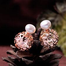 Pendientes Doble Perla Cultivada Blanco Plano, liso 8-9mm Cristal En Dorado Rosa