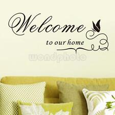 """Pegatina de Pared Vinilo Decorativo """"Welcome To Our Home"""" Mariposa Decoración"""