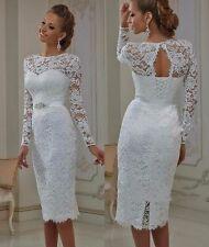 Vintage Short Sheath Lace Wedding Dresses White Ivory Long Sleeves Bridal Gown