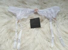 Ann Summers Sexy Lace Suspender Belt White Nude Bow S 8-10 New with tags