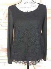 Ann Taylor Women's Long Sleeve Black Laced Lined Blouse Top Size L