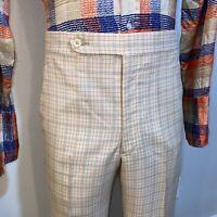 Vtg 60s 70s Mens 36 32 Polyester Pants Disco Golf Disco Mid Century Orange Plaid