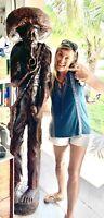 LIFE SIZE 6ft Folk WOOD CARVING Statue SCULPTURE Haitian Man Antique Rare
