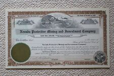 Nevada Protective Mining and Investment Company share certificate