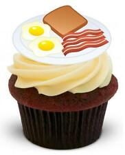 NOVELTY ENGLISH BREAKFAST FRY UP 12 STAND UP Cake Toppers Birthday Bacon Eggs