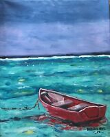 Beach Boat Original Modern Art Painting Dan Byl Contemporary Modern 26x21 inches