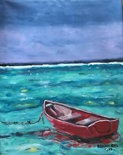 Beach Boat Original Modern Art Painting Dan Byl Contemporary Modern 26x21 inches