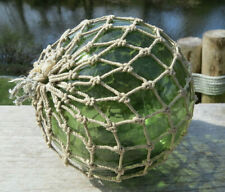 """Japanese Blown Glass Fishing Float 5"""" Deep Sea-Green Netted Antique!"""