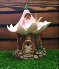 27cms Fairy Folklore Pink Lily Flower House Solar light Resin Garden Ornament
