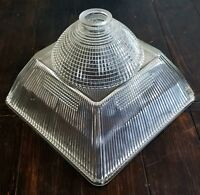 """Vintage Large 13.5"""" Holophane Industrial Steampunk Dome on Square Light Shade"""