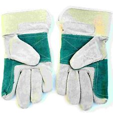 Mens Large Thick Strong Green Grey Leather Rigger Garden Gardening Work Gloves