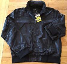 Men's black lightweight DRUNKNMUNKY allover textured tonal print jacket,size XL