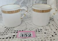 2 X ROYAL WORCESTER GOLDEN ANNIVERSARY COFFEE CUPS Demitasse  WHITE GOLD