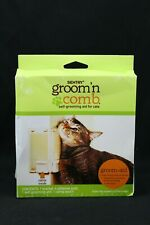 Self Grooming Aid Comb Wall Corner Attachment Kitty Cats Pets w/ Catnip Pouch