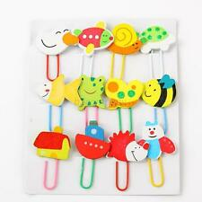 Cute Cartoon Wooden Paper Note Clips Bookmark Bookmarker Paperclip 12Pcs