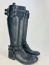 Born Tall Riding Boots Women's 5 US 35.5 Black Leather Harness Motorcycle Zipper