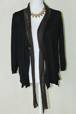 DESIGN HISTORY Womens Sz S Black/Gray Lightweight Cardigan Sweater w/ Front Tie