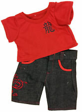 """Red Tee and Dragon Pants Outfit Fits Most 14"""" - 18"""" Build-a-bear and Make Your O"""