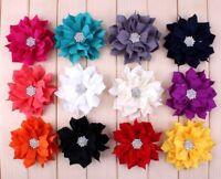 50pcs Lotus Leaf Fabric Flowers Rhinestone Button For Hair Accessories Headbands