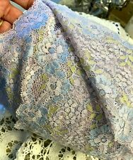 "STRETCH  LACE  5"" SCALLOP EDGE 1yd Orchid Blue & Lime"