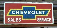 "Chevrolet Sales Service Sign Tin Metal Raised Embossed Design Large 27""X12.5"""