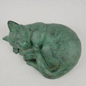 Antique Original Cast Iron Curled Sleeping Cat Kitten Doorstop Door Stop Vintage