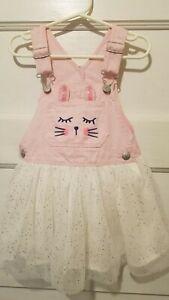 Oshkosh Vestbak Girl's Size 3T Pink &  White Bunny Sparkle Tulle Overall Dress