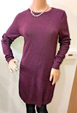 Warehouse maroon plum fine knit long line jumper dress size 12 BNWT