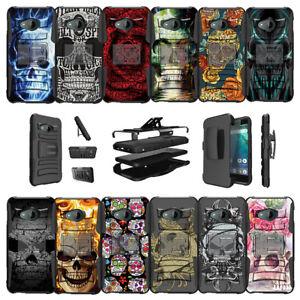 For HTC U11 Life Protective Dual Bumper Case Clip Kickstand - Skulls Designs