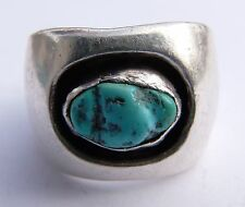 Chunky Navajo Native American Turquoise Sterling Silver Cigar Band Ring Size 10