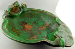 """Weller Coppertone Art Pottery Frog On Lilly Pad Dish Bowl Rare Lg Size 11""""x8""""x4"""""""