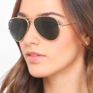 RAY BAN *RB3025 AVIATOR * CLASSIC GREEN LENS * GOLD Frame * Sunglasses*58/14  ,