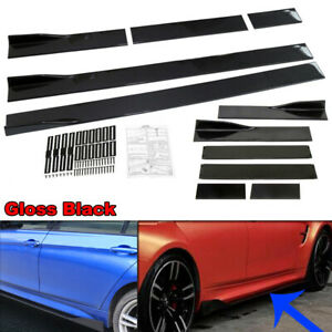 "86"" Universal Black Car Side Skirt Extension Rocker Panel Splitter Protector Lip"