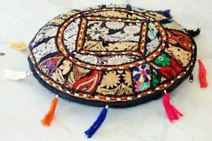 Indian Ethnic Patchwork Embroidered ROUND FLOOR CUSHION POUF COVER Footstool 18""