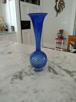"Constantin & Young Signed and Numbered Art Glass Vase Cobalt swirl 12"" tall"