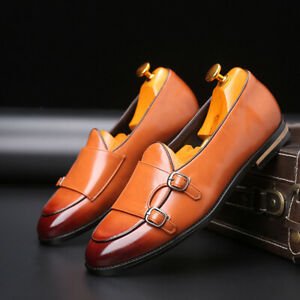 Mens British Style Pointed Toe Buckle Strap Flats Loafers Casual Comfort Shoes