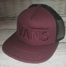 MENS VANS MAROON BURGUNDY SNAPBACK TRUCKER HAT ADJUSTABLE CAP