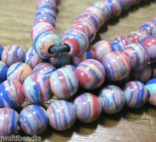 "Rainbow Multi-Color Calsilica 8mm Round Beads Large 2mm Hole 8"" Wrap Wire Leathe"