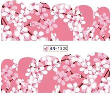 Nail Art Stickers Water Decals Transfers Pink Spring Flowers (BN1330)