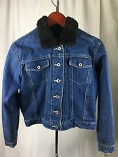 Girls Kids The GAP Denim Jacket w Faux Fur Collar and Quilted Lining Size XXL