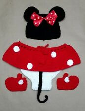 4 Piece Newborn Baby Girls Knit Crochet Minnie Mouse Costume Photo Prop Outfit