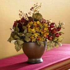 NEW IN BOX! Autumn Multi-Color Hydrangea Berry Arrangement Wood Vase [ID 58775]