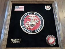 U.S MILITARY MARINE CORPS MEDALLION WITH PINS PRESENTATION SHADOW BOX OAK FRAME