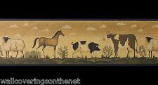 American Folk Art Diseño Estilo, recubierto de vinilo Wallpaper FRONTERA (17,3 cm X4.57 m)
