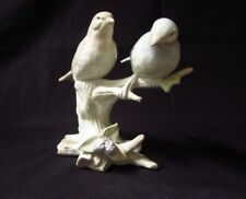 Vintage Porcelain Figurine Two Birds on Branch White and Tan Songbirds