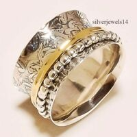 STERLING SILVER COPPER MEDITATION STATEMENT SPINNER RING JEWELRY gu45