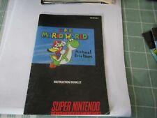 Super Nintendo SNES Super Mario World Instruction Manual Only