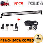 "PHILIPS 42""INCH 240W LED LIGHT BAR SPOT FLOOD OFFROAD JEEP 4WD BOAT+WIRING KIT"