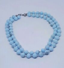 Vintage Sky Blue Faceted Plastic Beads Necklace