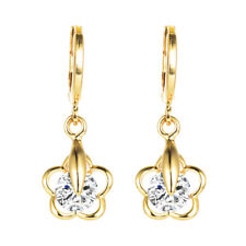 Fashion Women Gold Plated Clear Cubic Zirconia Sparkly CZ Flower Dangle Earrings
